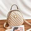 Маленькая женская стеганая сумка-рюкзак JingPin Kitty золотистая (шампанское)