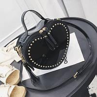 Женская сумка JingPin Сердце с заклепками черная, фото 1