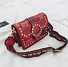 Маленькая женская сумка JingPin Vogue c заклепками красная