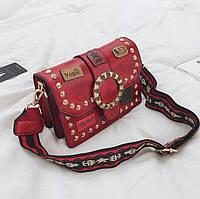 Маленькая женская сумка JingPin Vogue c заклепками красная, фото 1