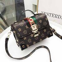 Маленькая женская сумка JingPin Сундук в стиле LV черная, фото 1