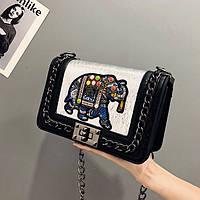 Маленькая женская сумка JingPin с вышивкой Elephant на цепочке черная, фото 1