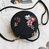 Маленькая женская круглая сумка JingPin с цветочной апликацией черная