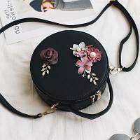 Маленькая женская круглая сумка JingPin с цветочной апликацией черная, фото 1