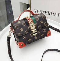 Маленькая женская сумка JingPin Сундук в стиле LV красная, фото 1