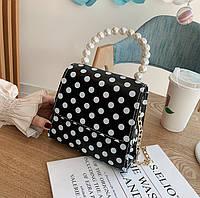 Маленькая женская сумка JingPin в горошек с ручкой из жемчуга черная, фото 1