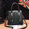 Маленькая женская сумка JingPin с боковыми застежками зеленая