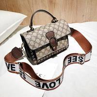 Маленька жіноча сумка JingPin LOVE коричнева, фото 1