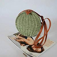 Маленькая женская круглая сумка JingPin соломенная зеленая