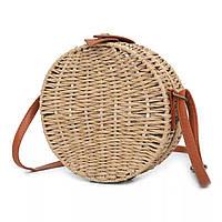 Маленькая женская круглая сумка JingPin соломенная коричневая
