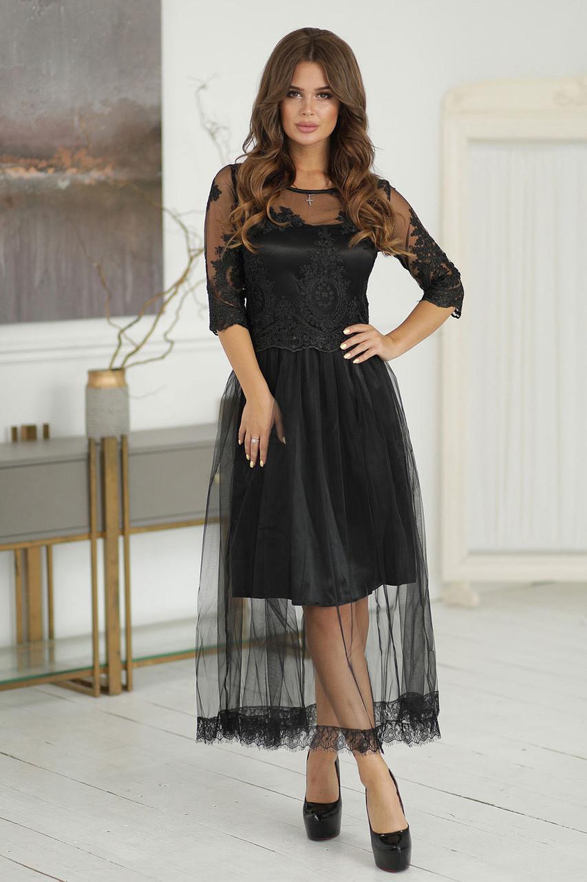 Вечернее Платье Каролин в черном цвете