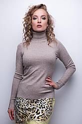 Водолазка женская с пуговицами на манжетах беж, бордо, коричневая, горчица, серая, сирень, черная
