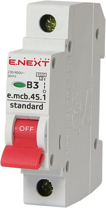 Модульный автоматический выключатель e.mcb.stand.45.1.B3, 1р, 3А, В, 4,5 кА ENEXT [s001003]