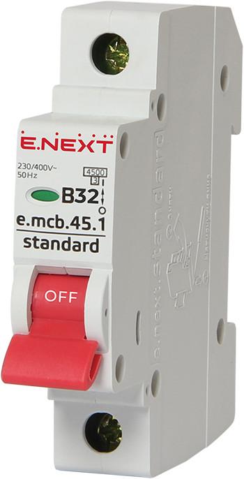 Модульный автоматический выключатель e.mcb.stand.45.1.B32, 1р, 32А, В, 4,5 кА ENEXT [s001011]