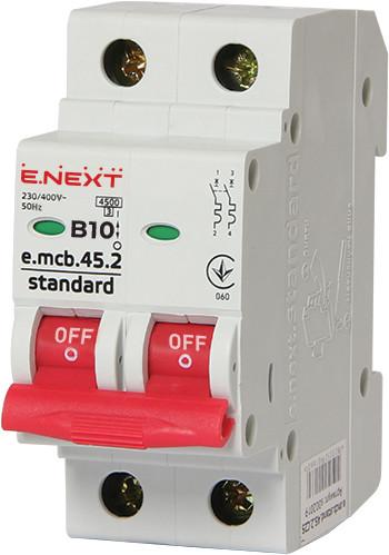 Модульный автоматический выключатель e.mcb.stand.45.2.B10, 2р, 10А, В, 4,5 кА ENEXT [s001016]