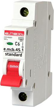 Модульный автоматический выключатель e.mcb.stand.45.1.C6, 1р, 6А, C, 4,5 кА Енекст [s002006]