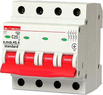 Модульный автоматический выключатель e.mcb.stand.45.4.C25, 4р, 25А, C, 4,5 кА ENEXT [s002049]