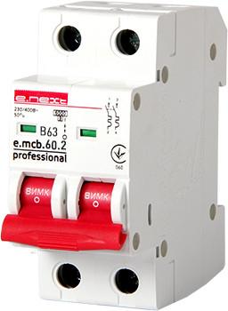 Модульный автоматический выключатель e.mcb.pro.60.2.B 63 new, 2р, 63А, В, 6кА, new ENEXT [p041023]