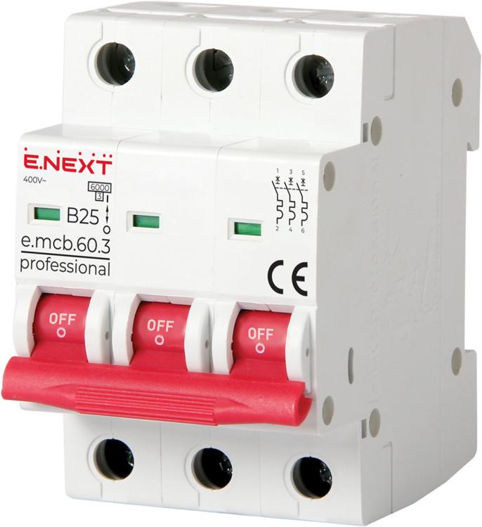 Модульный автоматический выключатель e.mcb.pro.60.3.B 25 new, 3р, 25А, В, 6кА, new ENEXT [p041028]
