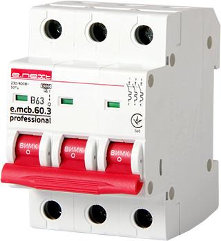 Модульный автоматический выключатель e.mcb.pro.60.3.B 63 new, 3р, 63А, В, 6кА, Енекст [p041032]