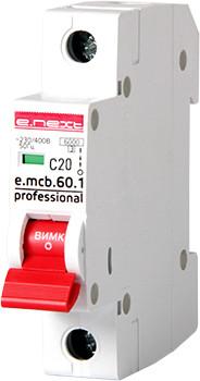 Модульный автоматический выключатель e.mcb.pro.60.1.C 20 new, 1р, 20А, C, 6кА new ENEXT [p042009]