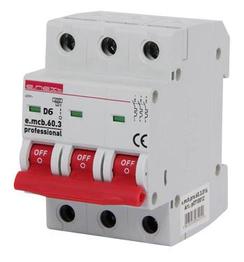 Модульный автоматический выключатель e.mcb.pro.60.3.D 6 new, 3р, 6А, D, 6кА new ENEXT [p0710019]