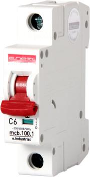 Модульный автоматический выключатель e.industrial.mcb.100.1.C6, 1 р, 6А, C, 10кА ENEXT [i0180001]
