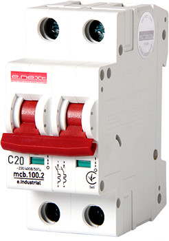 Модульный автоматический выключатель e.industrial.mcb.100.2.C20, 2 р, 20А, C, 10кА Енекст [i0180013]
