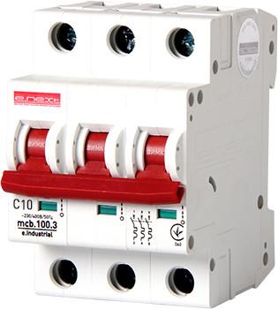 Модульный автоматический выключатель e.industrial.mcb.100.3.C10, 3 р, 10А, C, 10кА ENEXT [i0180020]