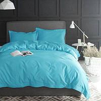 Однотонный комплект постельного белья Лазурный берег, поплин Lux, разные размеры полуторный