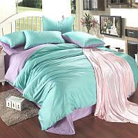 Однотонное постельное белье Сатин  Микс Лиловый и мятный, Турция, разные размеры полуторный