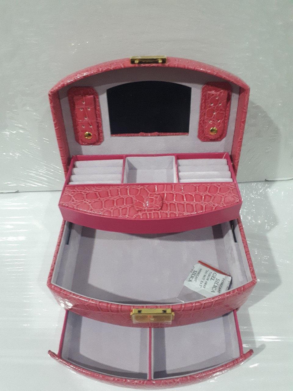 Кожаная шкатулка для украшений с вкладышем 431965 Pink