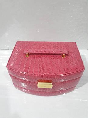 Кожаная шкатулка для украшений с вкладышем 431965 Pink, фото 2