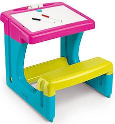 Пластиковая двусторонняя парта-доска Школьник Smoby, Pink 3+ (420102)