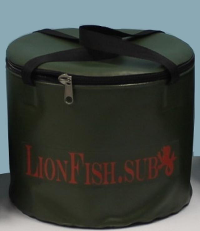 Ведро LionFish.sub для Замешивания Рыболовного корма, Сумка для Трофейных Рыб на 8л, Крышка и Две Ручки ПВХ