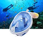 МаскаEasyBreath для подводного плавания, дайвинг, снорклинг, полнолицевая, синяя, фото 5