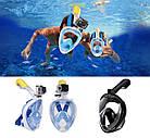 МаскаEasyBreath для подводного плавания, дайвинг, снорклинг, полнолицевая, синяя, фото 6