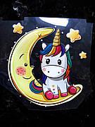 Термо наклейка, трансфер, наклейка на одежду Единорог на луне 11х11 см