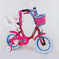 Велосипед 12 дюйм 2-х колёсный 1247 Corso, ручн.тормоз, корзин., звонок, сиден.с ручкой, доп.колеса - 154644