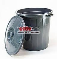 Бак 30л пластиковый универсальный с крышкой (цвет - серый) Горизонт GR-02041-1