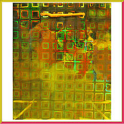 Пакет Подарочный Голографический Золотой 21 см * 18 см * 7,5 см (большой)