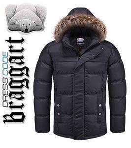 Купить куртки зимние мужские с мехом оптом 48, черный