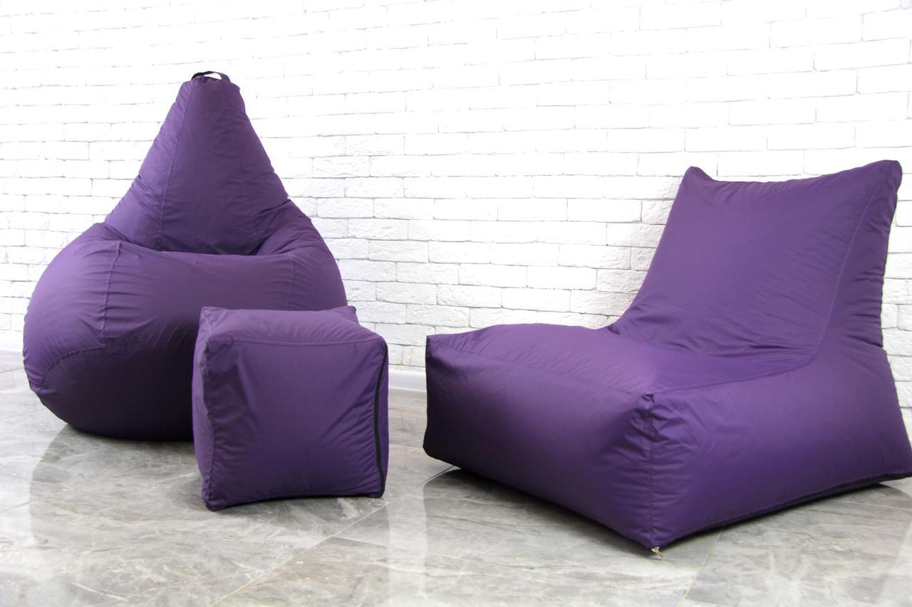 Фиолетовый Набор бескаркасной мебели (кресло мешок, диван, пуф) XL