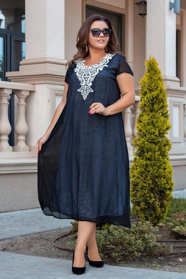 Женственное платье из красивого однотонного коттона раз.50,52,54,56