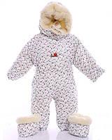 Детский комбинезон трансформер для новорожденных зимний, белый с розочками - 155495