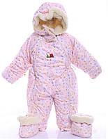 Детский комбинезон трансформер для новорожденных зимний, розовый с пуговкой - 155714