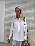 Рубашка женская стильная белая голубая бирюза, фото 3