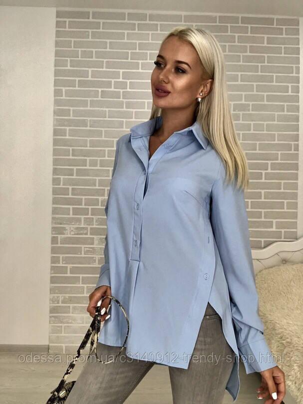 Рубашка женская стильная белая голубая бирюза