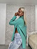 Рубашка женская стильная белая голубая бирюза, фото 4