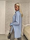 Рубашка женская стильная белая голубая бирюза, фото 5